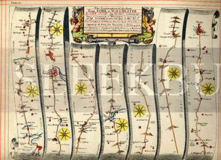 OGILBY Strip Map, York to Warrington, Warrington to Derby